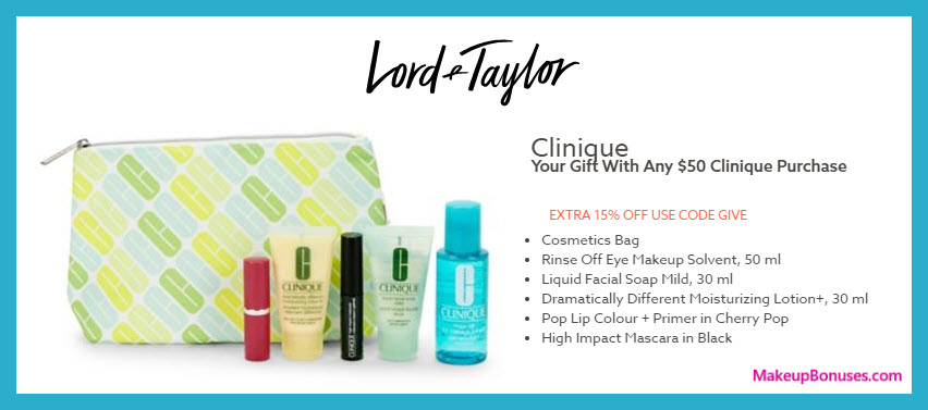Receive a free 6-pc gift with $50 Clinique purchase #LordAndTaylor