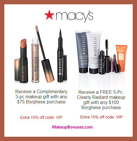 Receive a free 8-pc gift with $100 Borghese purchase #macys
