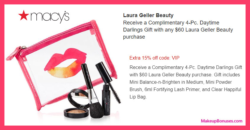 Receive a free 4-pc gift with $60 Laura Geller purchase #macys