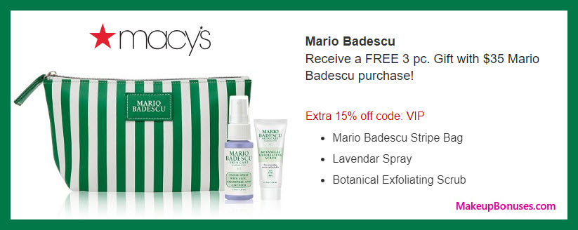 Receive a free 3-pc gift with $35 Mario Badescu purchase #macys