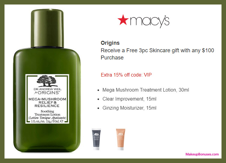 Receive a free 3-pc gift with $100 Origins purchase #macys