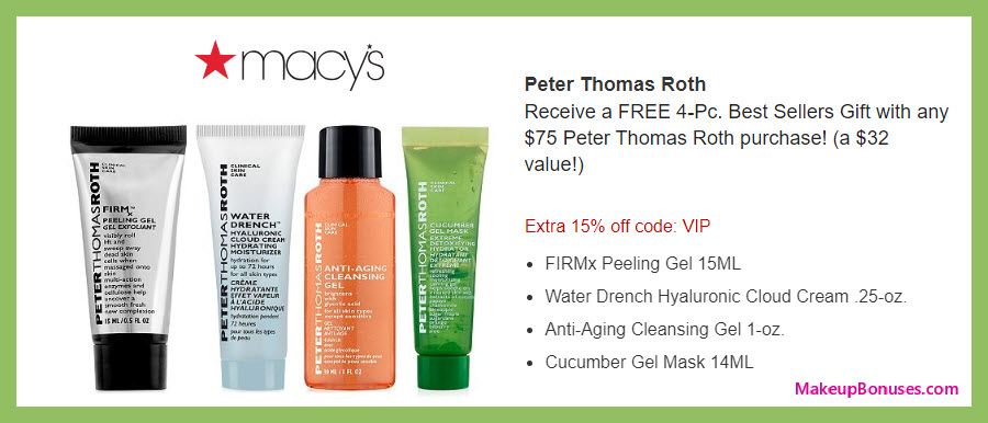 Receive a free 4-pc gift with $75 Peter Thomas Roth purchase #macys