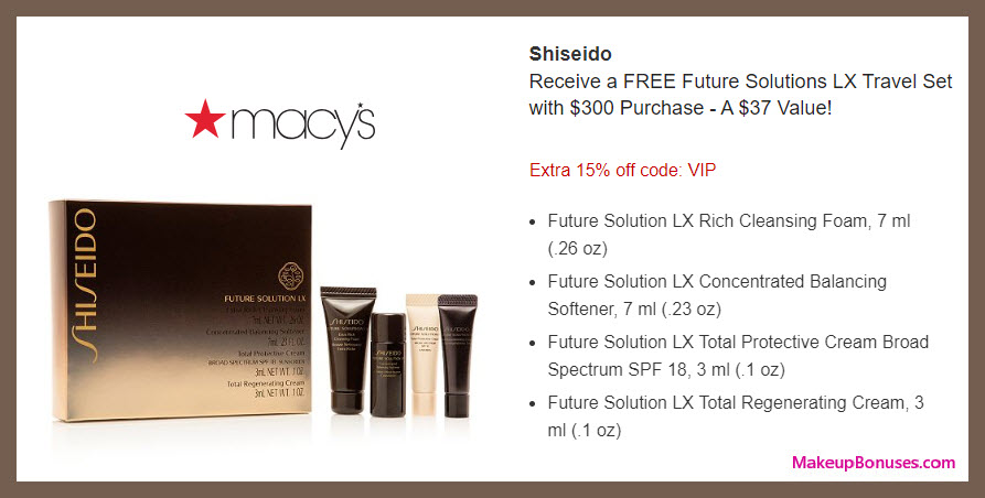 Receive a free 4-pc gift with $300 Shiseido purchase #macys