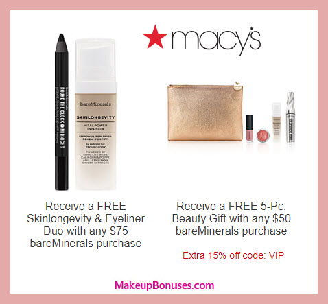 Receive a free 5-pc gift with $50 bareMinerals purchase #macys