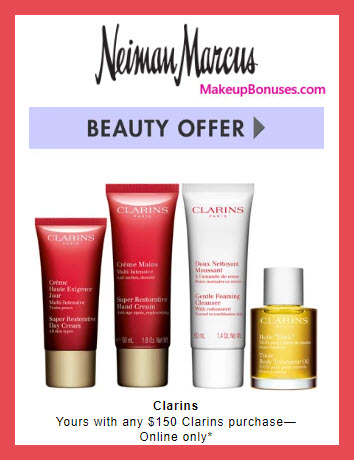 Receive a free 4-pc gift with $150 Clarins purchase #neimanmarcus