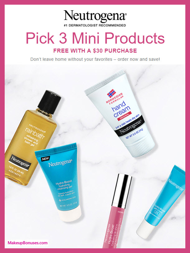 Receive your choice of 3-pc gift with $30 Neutrogena purchase #Neutrogena