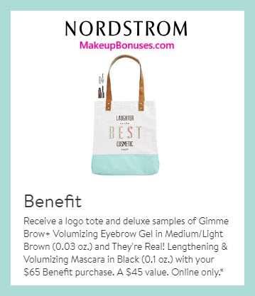 Receive a free 3-pc gift with $65 Benefit Cosmetics purchase #nordstrom