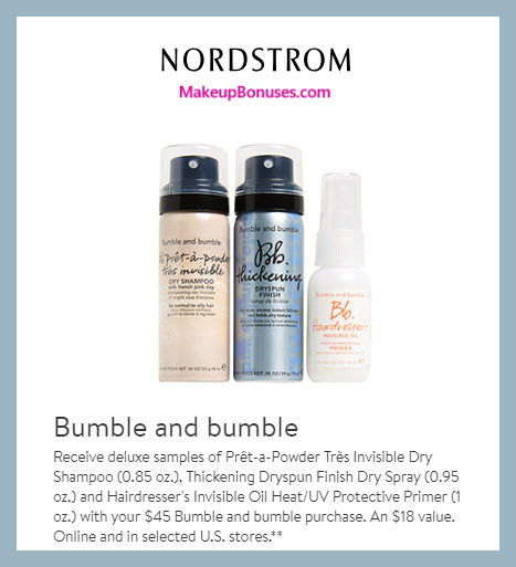 Receive a free 3-pc gift with $45 Bumble and bumble purchase #nordstrom