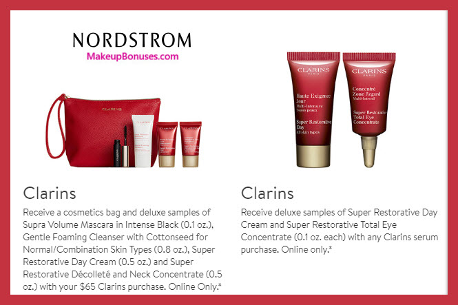 Receive a free 5-pc gift with $65 Clarins purchase #nordstrom