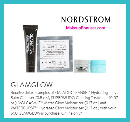 Receive a free 4-pc gift with $50 GlamGlow purchase #nordstrom