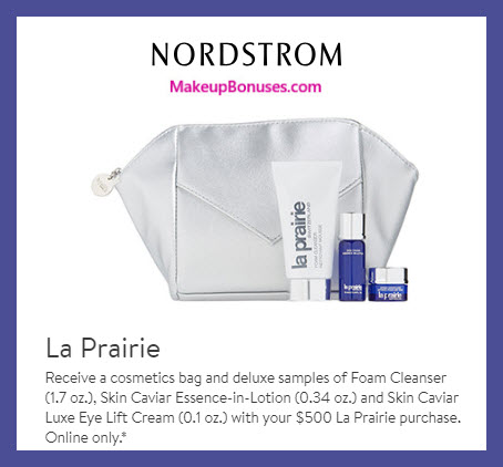 Receive a free 4-pc gift with $500 La Prairie purchase #nordstrom