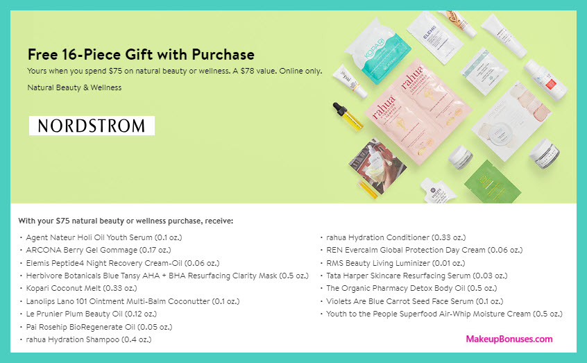 Receive a free 16-pc gift with $75 natural beauty & wellness purchase