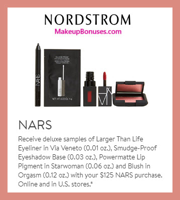 Receive a free 4-pc gift with $125 NARS purchase #nordstrom