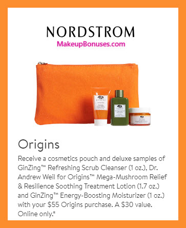 Receive a free 4-pc gift with $55 Origins purchase #nordstrom