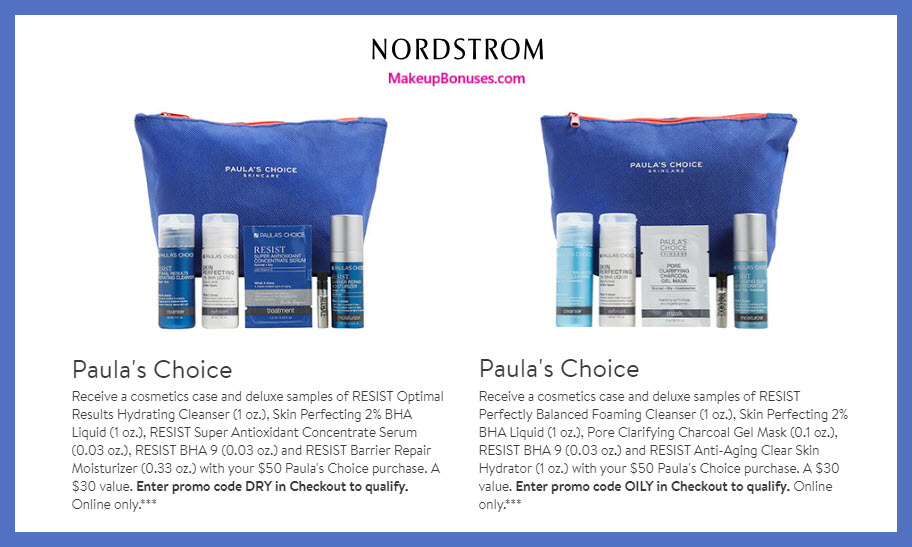 Receive your choice of 6-pc gift with $50 PAULA'S CHOICE purchase #nordstrom