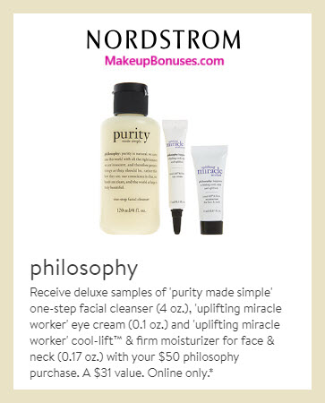 Receive a free 3-pc gift with $50 Philosophy purchase #nordstrom