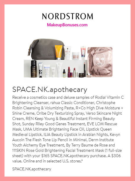 Receive a free 17-pc gift with $165 Space NK purchase #nordstrom