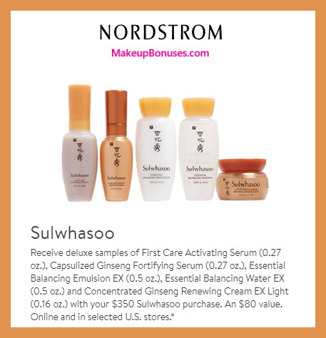 Receive a free 5-pc gift with $350 Sulwhasoo purchase #nordstrom
