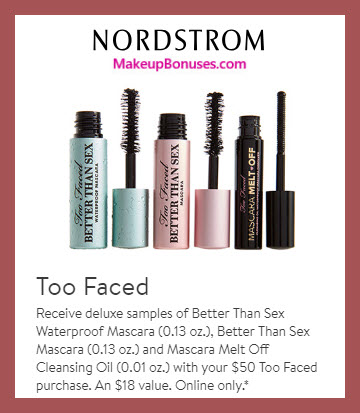 Receive a free 3-pc gift with $50 Too Faced purchase #nordstrom