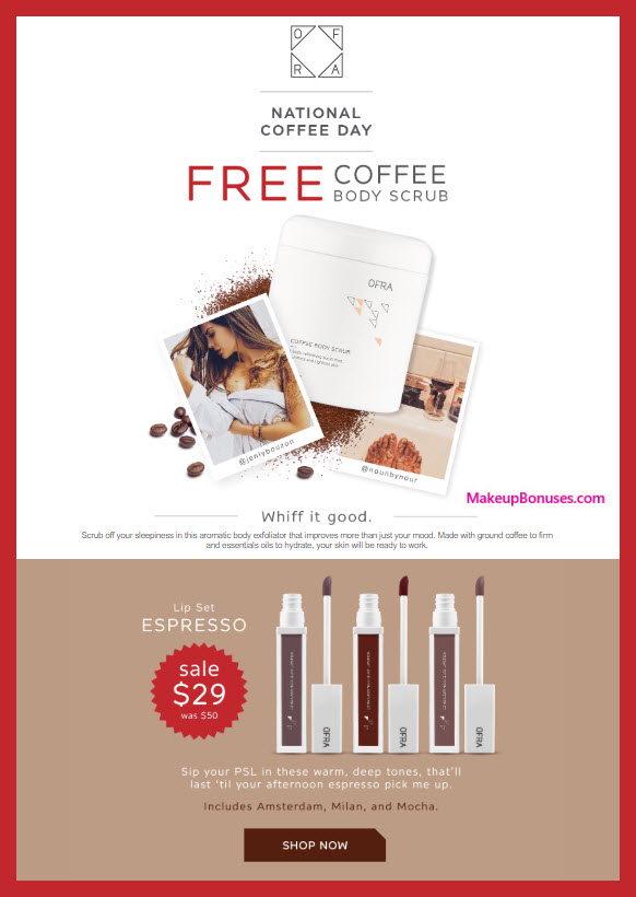 Receive a free 1-pc gift with $10 OFRA purchase #OFRAcosmetics