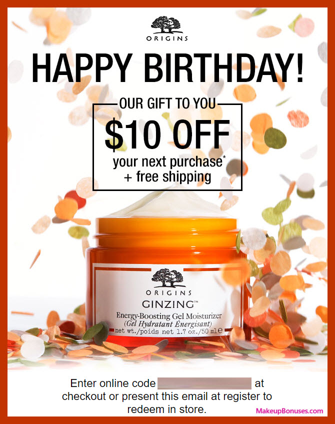 Origins Birthday Gift - MakeupBonuses.com #Origins