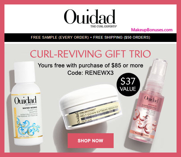Receive a free 3-pc gift with $85 Ouidad purchase #ouidad