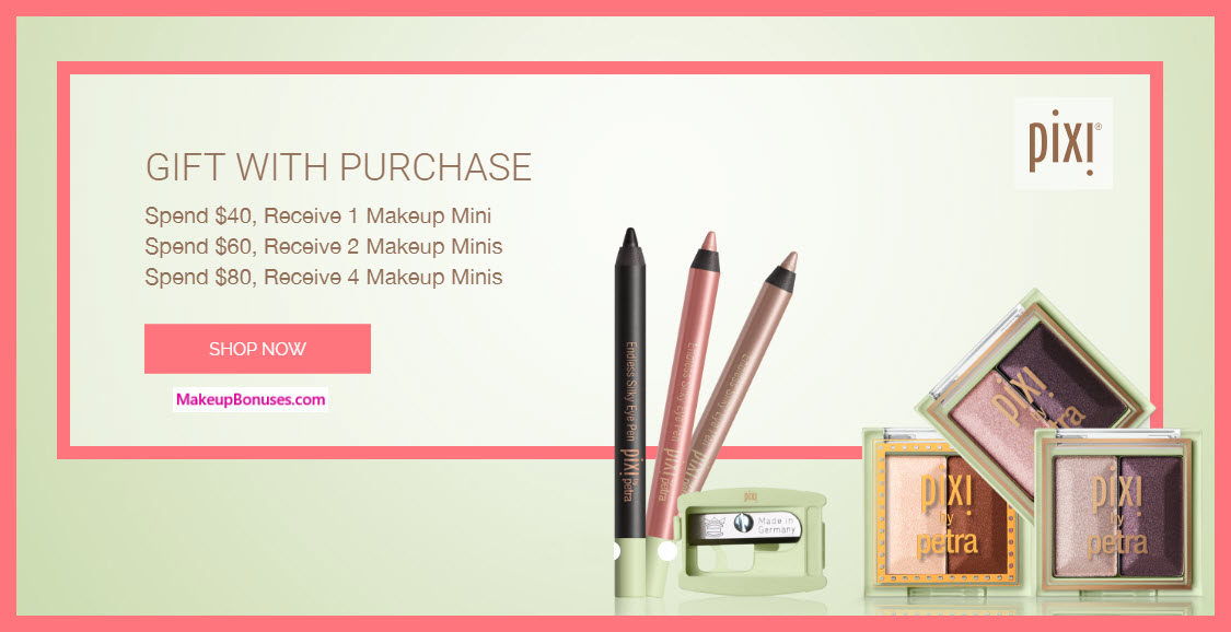 Receive a free 4-pc gift with $80 Pixi Beauty purchase