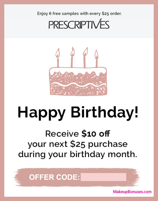 Prescriptives Birthday Gift - MakeupBonuses.com #Prescriptives