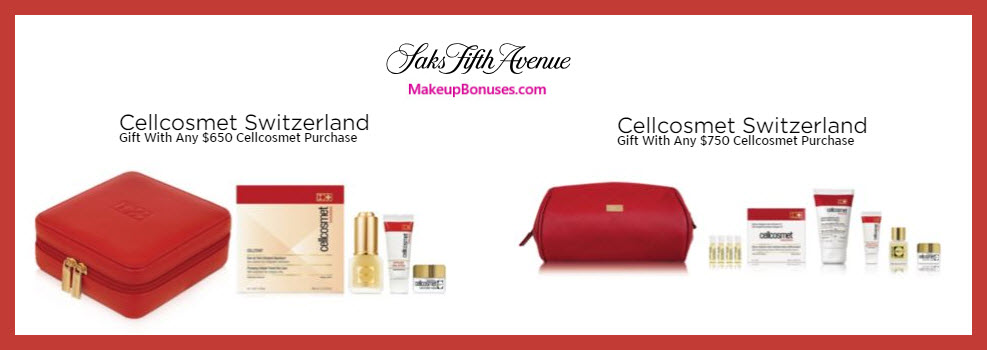 Receive a free 8-pc gift with $750 Cellcosmet Switzerland purchase #saks