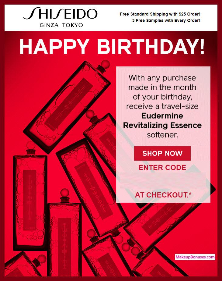 Shiseido Birthday Gift - MakeupBonuses.com #Shiseido