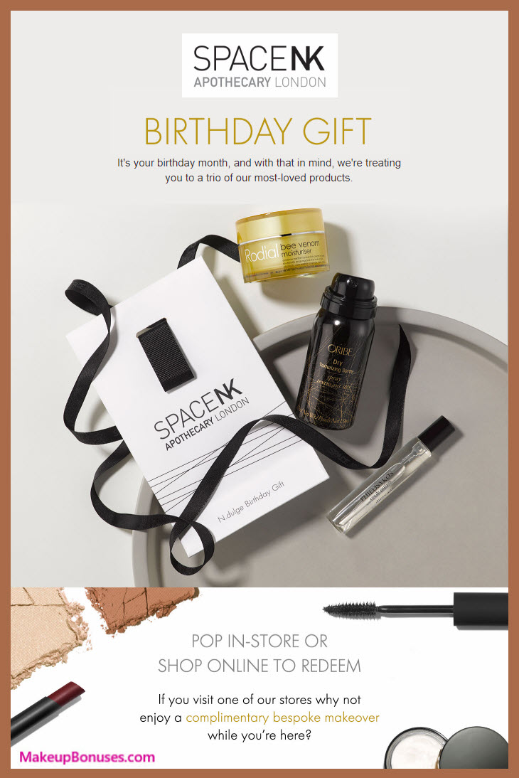 Space NK Birthday Gift - MakeupBonuses.com #SpaceNK