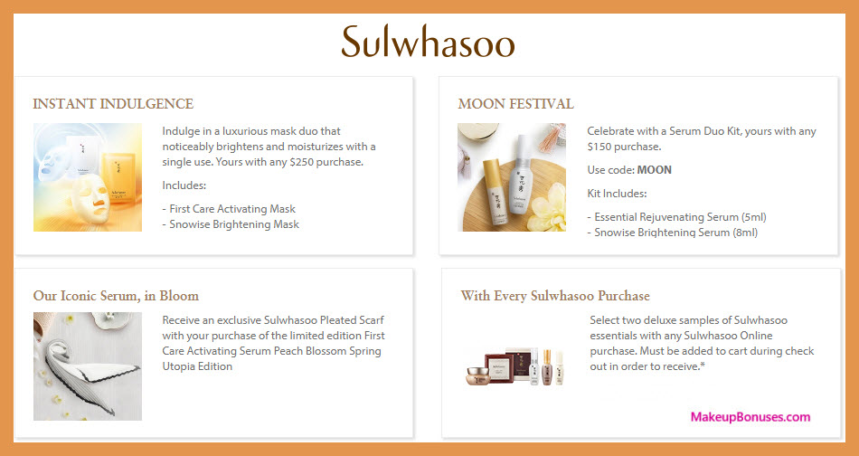 Receive a free 4-pc gift with $250 Sulwhasoo purchase #sulwhasooUS