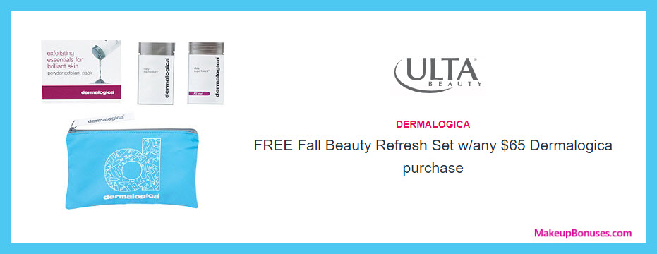 Receive a free 4-pc gift with $65 Dermalogica purchase