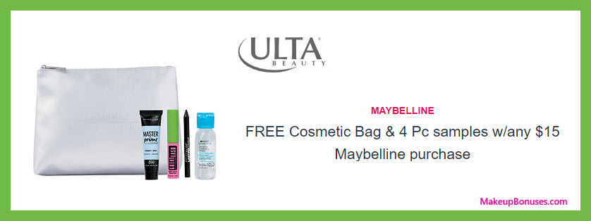 Receive a free 5-pc gift with $15 Maybelline purchase