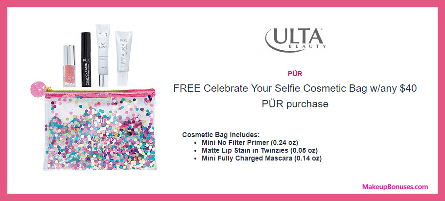 Receive a free 4-pc gift with $40 PÜR purchase