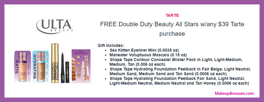 Receive a free 5-pc gift with $39 Tarte purchase