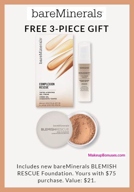 Receive a free 3-pc gift with $75 bareMinerals purchase