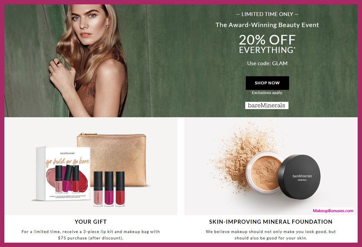 Receive a free 4-pc gift with $75 bareMinerals purchase #bareminerals