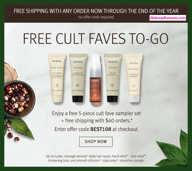Receive a free 5-pc gift with $40 Aveda purchase #aveda