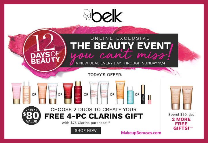 Receive your choice of 4-pc gift with $75 Clarins purchase #belk