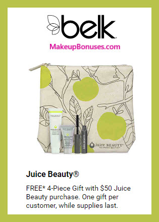 Receive a free 4-pc gift with $50 Juice Beauty purchase #belk