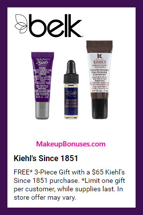 Receive a free 3-pc gift with $65 Kiehl's purchase #belk