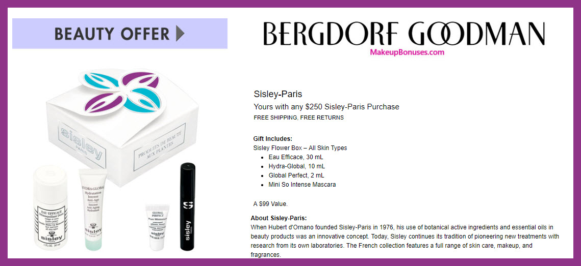 Receive a free 4-pc gift with $250 Sisley Paris purchase #bergdorfs