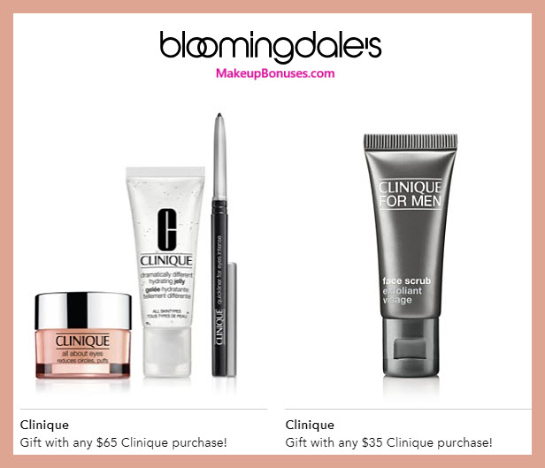 Receive a free 4-pc gift with $65 Clinique purchase #bloomingdales