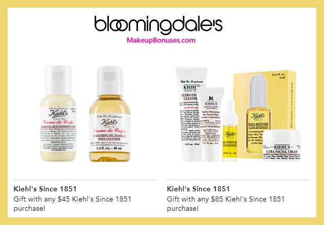 Receive a free 6-pc gift with $85 Kiehl's purchase #bloomingdales