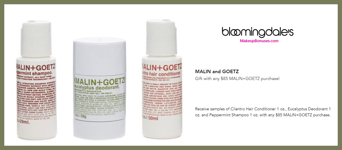 Receive a free 3-pc gift with $85 Malin + Goetz purchase #bloomingdales