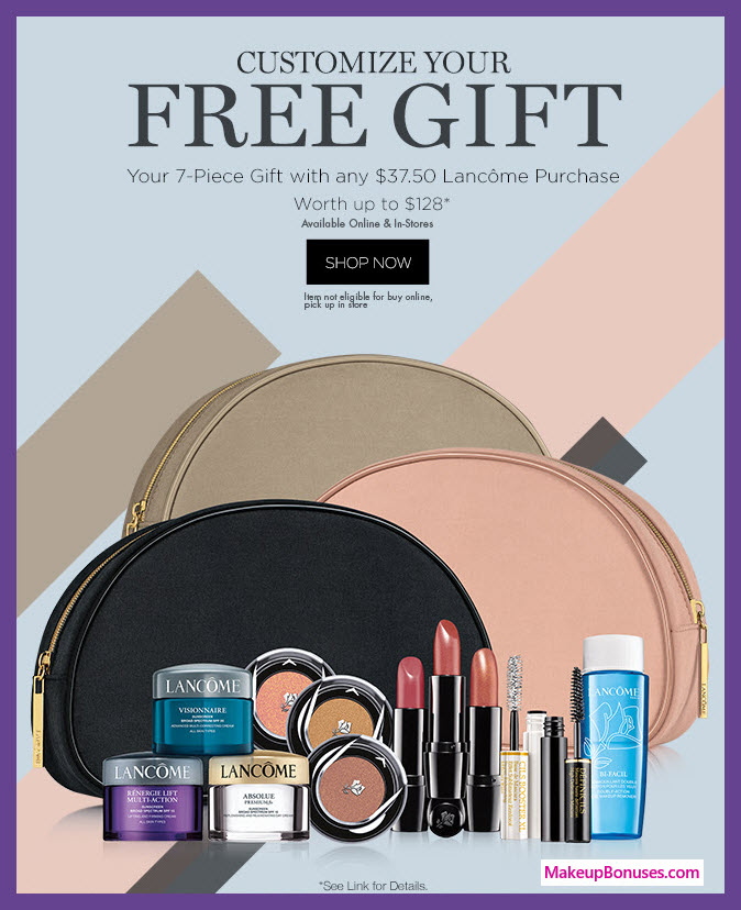 Receive a free 7-pc gift with $37.5 Lancôme purchase #boscovs