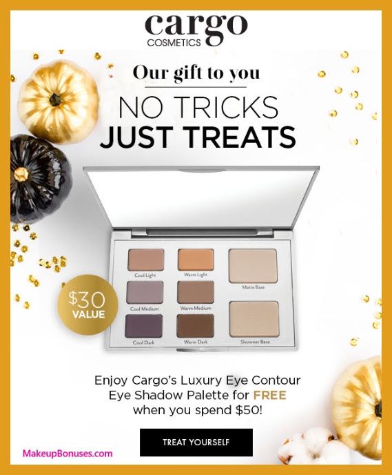Receive a free 8-pc gift with $50 Cargo Cosmetics purchase #cargocosmetics