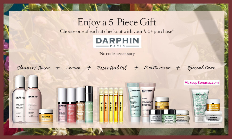 Receive your choice of 5-pc gift with $50 Darphin purchase #darphin