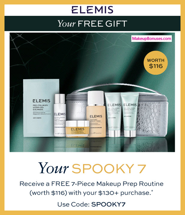 Receive a free 7-pc gift with $130 Elemis purchase #elemis
